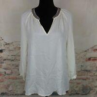 Joie Wms Sz M Ivory 100% Silk Gunmetal Beaded V Neck 3/4 Sleeve Blouse Top
