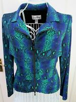 Vintage JOSEPH RIBKOFF Snakeskin Print Stretch Jacket UK 10 Sequin FAB! Y2K  90s