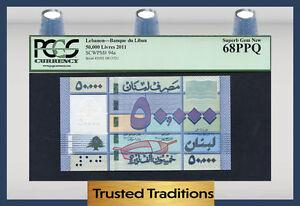 TT PK 94a 2011 LEBANON BANQUE DU LIBAN 50000 LIVRES PCGS 68 PPQ SUPERB TOP POP!