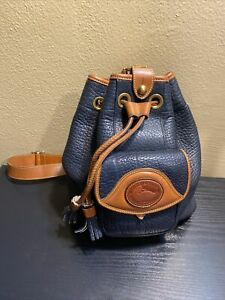 vintage Dooney&Bourke blue/tan leather trim drawstring backpack purse