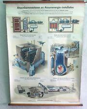 Vintage schoolplaat op linnen atoomenergie nuclear installation 1950's school