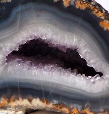 Las Choyas Coconut Geode Split pair Amethyst and BlueGrey Chalcedony 1.5 lbs