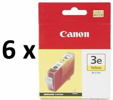 6 x Canon Genuine Ink Printer Cartridges BCI-3eY,BCI3/3/3e Yellow/Y *CLEARANCE*