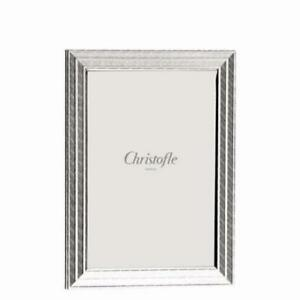 "CHRISTOFLE FILETS 4"" X 6"" PICTURE FRAME #4256630 BRAND NIB SILVER PLATED F/SH"