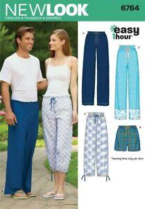 NEW LOOK 6764 Sewing Pattern Men's Women's Pajama Shorts Pants Sleepwear Lounge