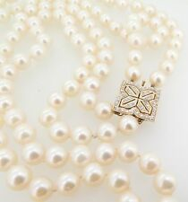DOUBLE STRAND OF 8-8.5MM AKOYA PEARLS & DIAMOND SET 14K GOLD CLASP VAL $10990