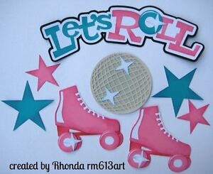 Let's Roll girl paper piecing title premade scrapbook page Rhonda rm613art