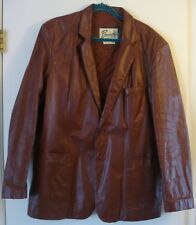 Vintage Berman's Lined 60's 70's Button Brown Leather Jacket Coat Size 46