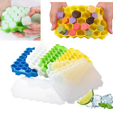 Grid-Silicone Ice Cube Tray Honeycomb Shape With Lid 6 Colours Moulds-Freemail