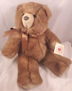 "Vintage 80s Heartline Hallmark Plush 16"" Luxe Minky Brown Sherwood Bear Korea"