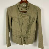 Witchery Khaki Military Style Fitted Jacket Black Piping Size 10
