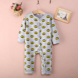 NEW Baby Boys Batman Gray Long Sleeve Romper Jumpsuit Outfit 0-6 Months