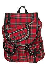 Banned Apparel Red Tartan Punk Goth Rock Rucksack School Bag Backpack Waterproof