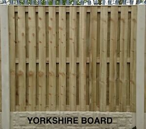 Yorkshire Board Pressure Treated & Tanalised Fence Panel 6ft W x 3ft to 6ft H