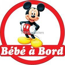 Sticker autocollant enfant Bébé à bord Mickey réf 3569 3569