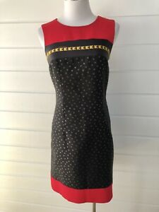 CLASS ROBERTO CAVALLI Black Red Sleeveless Sheath Dress - Size 8