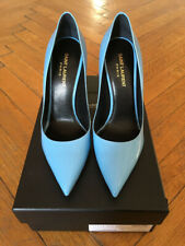 YVES SAINT LAURENT PARIS 105 PATENT PUMP SKY BLUE - NEW!