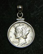 US Mercury Dime Sterling Pendant 1940