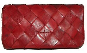 VILENCA Holland Red Leather  Bifold Clutch Wallet NWT