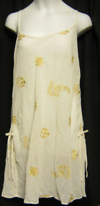 Victoria Secret Small Ivory with Gold Embroidery Slip Gown Polyester New
