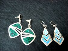 2 pairs Mexico 925 Sterling silver earrings HAND CAST abalone shell malachite ?
