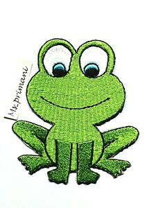 Embroidered Green Frog animal Iron On Sew Patch Kids Shirts Jeans Badge 7x8 CM