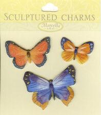 Butterfly Sculptured Charms, Embellishments NEW, 140707