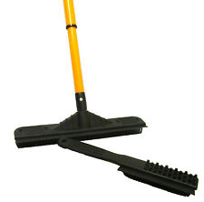 RUBBER BROOM with TELESCOPIC HANDLE plus RUBBER HAND BRUSH caravan home pet hair