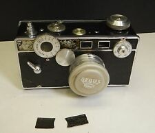 Vintage Argus  Camera Cintar 50mm f3.5 Lens with Brown Leather Case