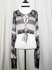 With the Band Tie Front Crop Top - Fringe Sleeves - Sz M MEDIUM - Rocker Chick