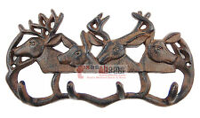 Cast Iron Deer Antler Coat Hanger Rack Key Holder Wall Mount Cabin Lodge 4 Hooks
