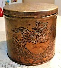 VINTAGE EARLY TO MID-20th CENTURY ENGRAVED METAL TOBACCO OR TEA CANISTER / TIN