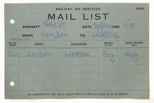 BG18 1934 RAILWAY AIR SERVICES Mail List