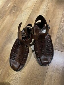Mens Leather Sandles Size 44 Brown