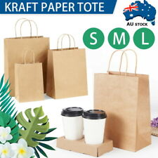 50/100 x Bulk Kraft Paper Bags, Gift Shopping Carry Craft Brown Bag with Handles