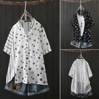 ZANZEA Women Short Sleeve Polka Dot T-Shirt Tops Stripe Loose Blouse Plus Tee