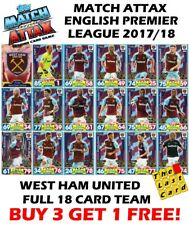 MATCH ATTAX 2017/18 WEST HAM UNITED FULL TEAM SET 18 CARDS - BUY 3 GET 1 FREE