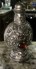 Chinese Sterling Silver 925 Enamel & Jade Hand Carved Dragon Snuff Bottle Marked