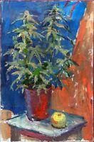 """Russischer Realist Expressionist Öl Leinwand """"Brennnessel"""" 60x40 cm"""