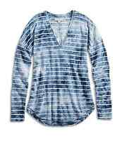 Lucky Brand - Women's XS - NWT - Blue Tie Dye Striped Long Sleeve V-Neck Tee