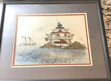 """MARTIN BARRY Limited Edition Signed Giclee Thomas Point Light, MD 22X26"""""""