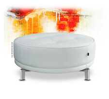 Round Large Leather Stool Sitting Pouf Ø 77 Cm. Real White