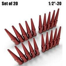 "20pc Set Long Spike Lug Nuts 1/2"" - 20 RHT Taper Acorn Seat Red Finish 5RD4"