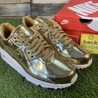 UK6 Nike Air Max 90 Metallic Liquid Metal Pack Gold Trainers - Retro Classic
