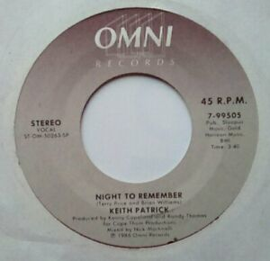 """Northern Modern Boogie 80s Soul 7""""-Keith Patrick-Night To Remember/Instrume-Omni"""