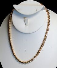 Vintage Napier Signed Art Deco Gold Tone - Plated Cone and Tube Beads Necklace