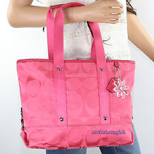 NWT Coach Kyra Daisy Signature Tote Crossbody Shoulder Bag F18844 Hibiscus Pink