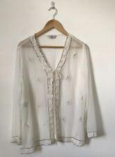 Joanna Hope Women Jacket Top White Sequin Semi Sheer Long Sleeve Cover Tie Neck