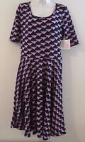 NWT LuLaRoe NICOLE S/S Pullover Dress Black w/Pink Triangles Sz XL or 16/18