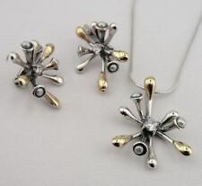 Hadar Designers 9k Yellow Gold 925 Silver Pearl Zircon Earrings Pendant Set (Ms